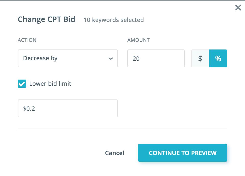Changing ASA CPT bid SearchAdsHQ