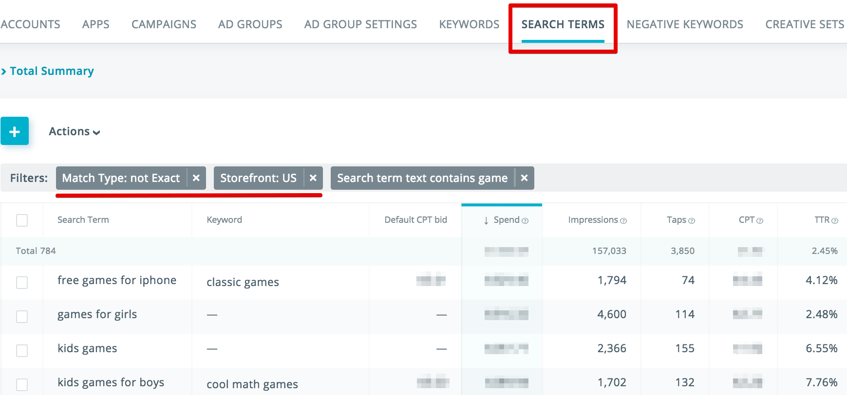 Search terms analysis in SearchAdsHQ