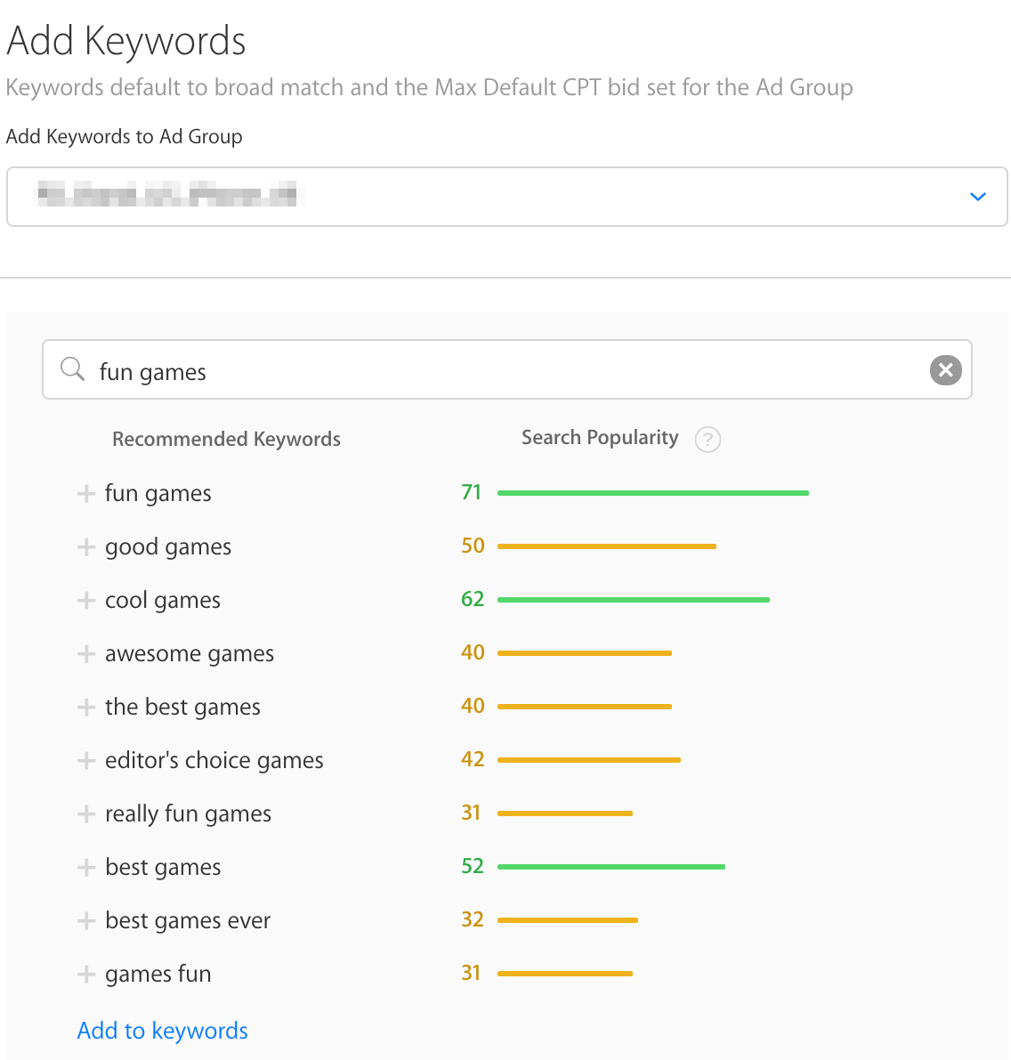 Related keywords in Search Ads