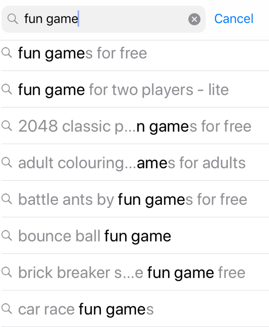 App Store suggestions