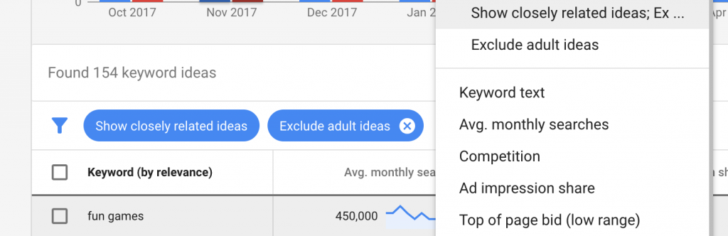 Keyword Planner filters for keyword hints